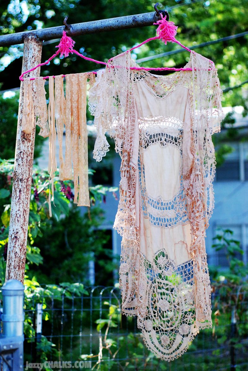 Tea dyed lace doily tablecloth vest diy