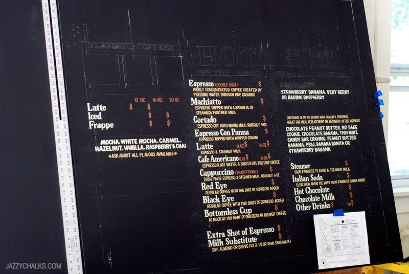 Menu WIP Progess Chalk Lettering