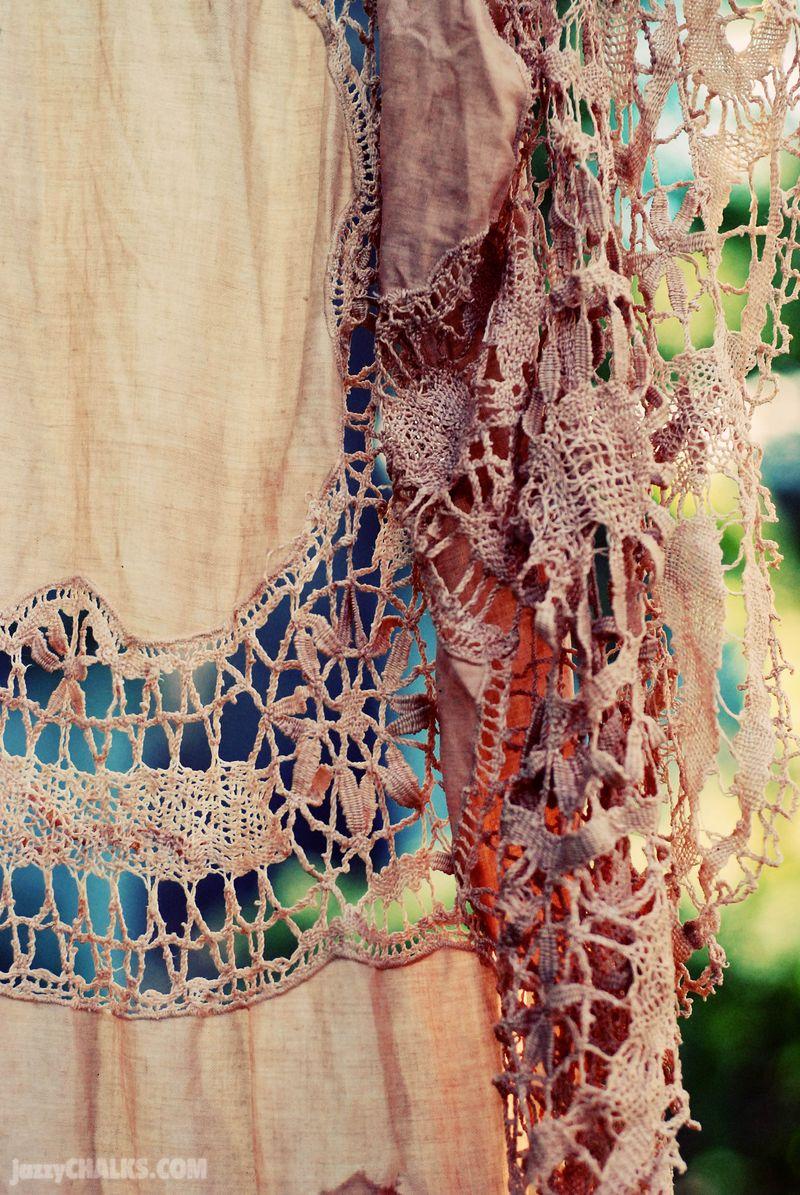 Tea dyed lace table cloth doily diy
