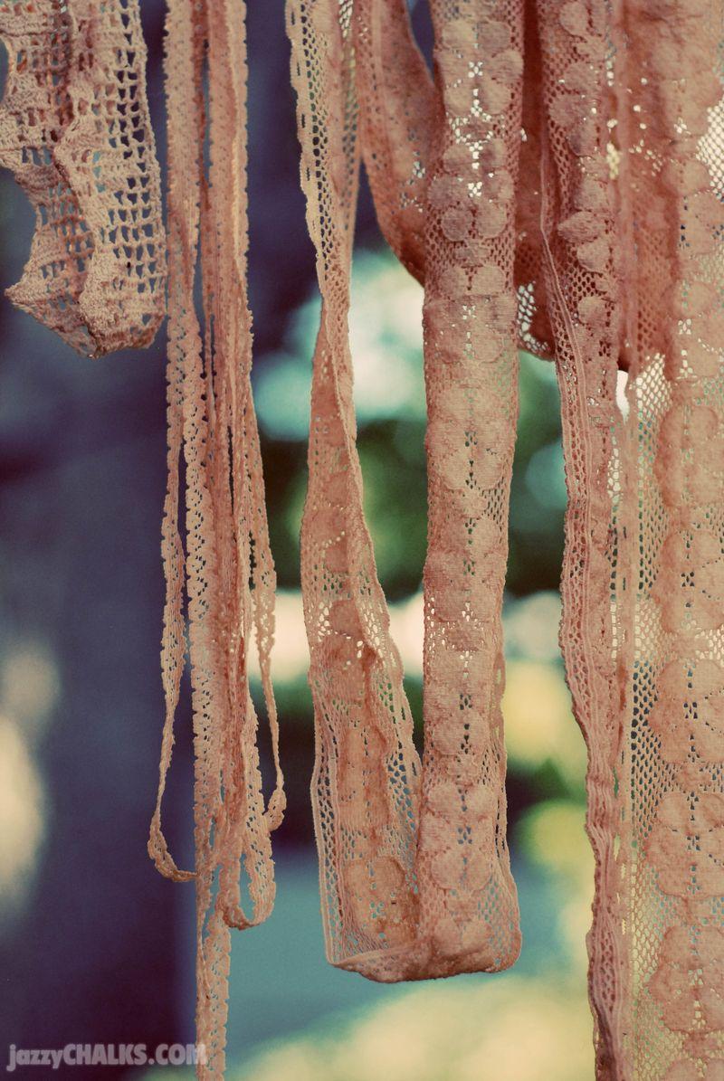 Tea dye lace fabric