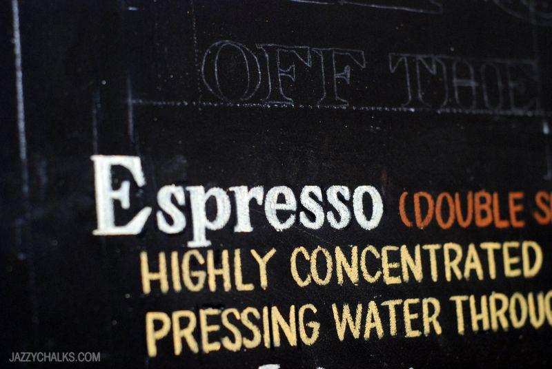 Espresso Chalkboard Menu Detail