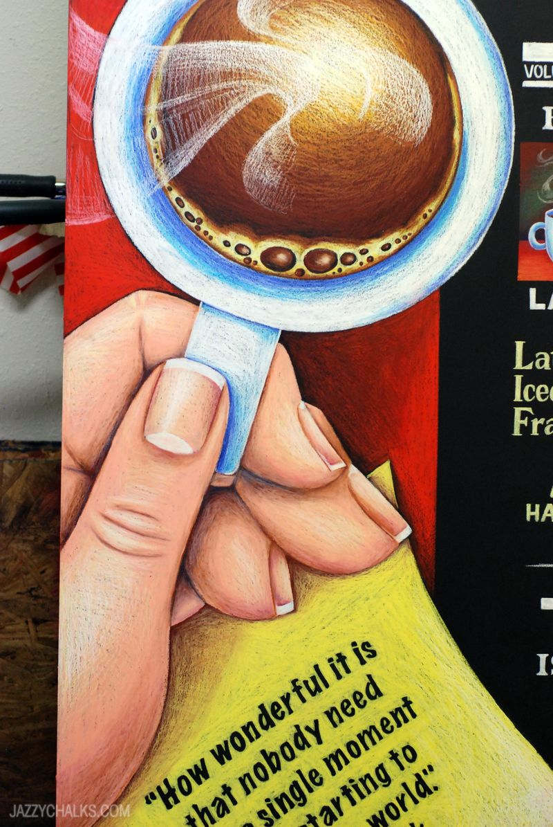 Coffee hand chalk illustration menu board