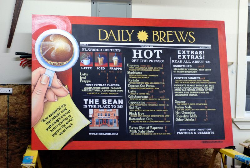Daily Brews Chalkboard Menu Chalk Sign