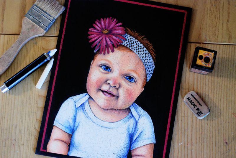 Emma chalkboard portrait