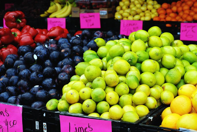 Produce limes plums farmers market