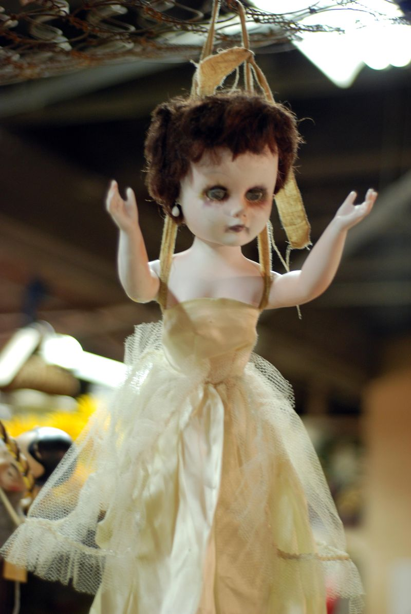Creepy doll halloween decor