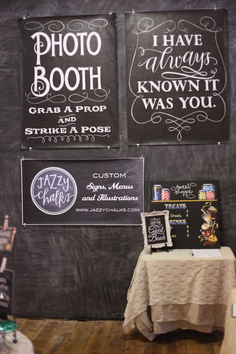 chalkboard wall posters photo booth wedding