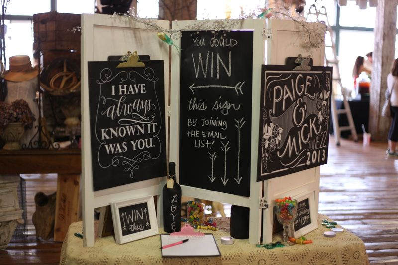 artwork display prop booth show craft chalkboard sign table